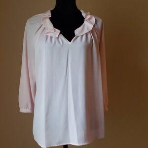 Elle pink pong sleeved blouse